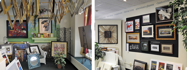 side by side photo of McMillen's Custom Framing gallery